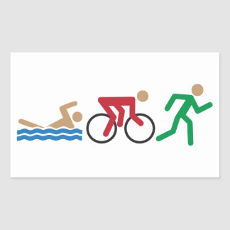 Triathlon logo icons in color sticker sheet