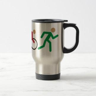 Triathlon logo icons in color travel mug