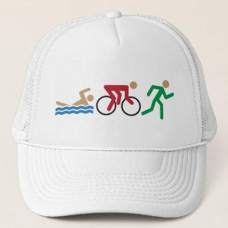 Triathlon logo icons in color trucker hat
