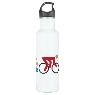 Triathlon logo icons in color water bottle