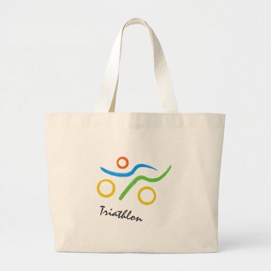 Triathlon logo large tote bag