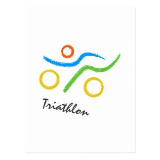 Triathlon logo postcard
