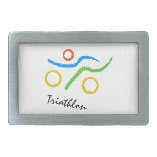 Triathlon logo rectangular belt buckle
