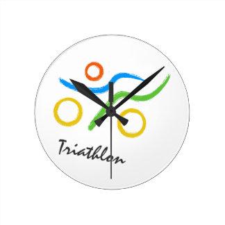 Triathlon logo round clock