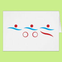Triathlon modern cool logo card
