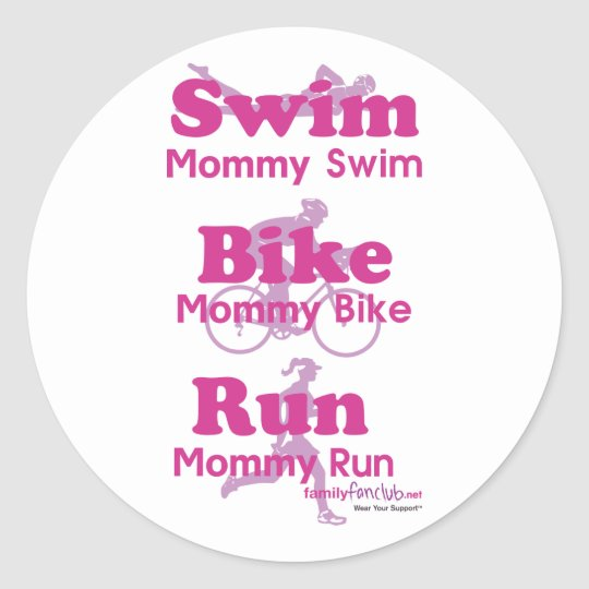 Triathlon Mommy Classic Round Sticker
