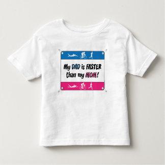 Triathlon My Dad is Faster than my Mom Toddler T-shirt
