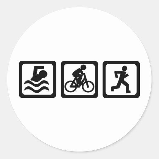 Triathlon Pegatina Redonda