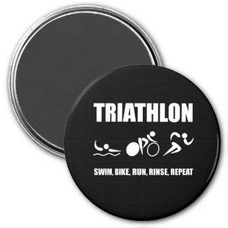 Triathlon Rinse Repeat 3 Inch Round Magnet