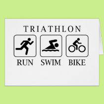 Triathlon run, swim and bike card