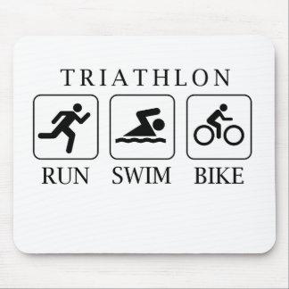 Triathlon run, swim and bike mouse pad