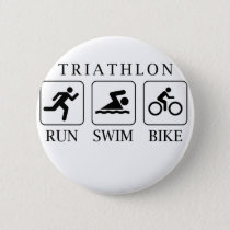 Triathlon run, swim and bike pinback button