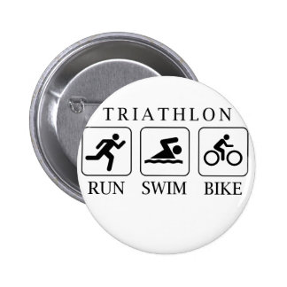 Triathlon run, swim and bike pinback button