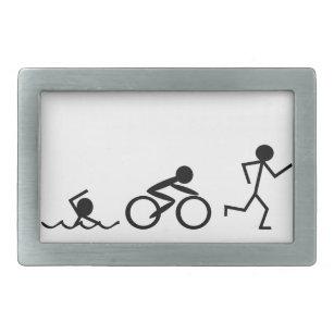 Triathlon Stick Figures Belt Buckle