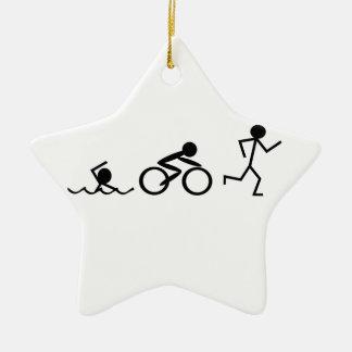 Triathlon Stick Figures Ceramic Ornament