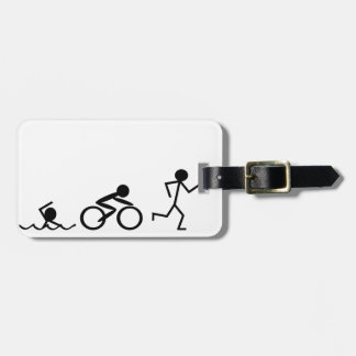 Triathlon Stick Figures Luggage Tag