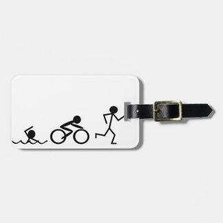 Triathlon Stick Figures Luggage Tag