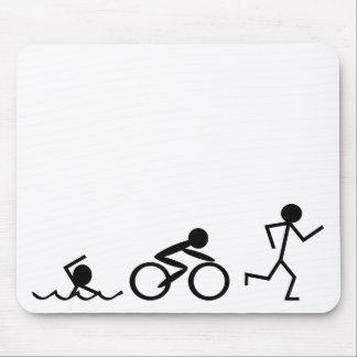 Triathlon Stick Figures Mouse Pad