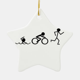 Triathlon Stick Figures Double-Sided Star Ceramic Christmas Ornament