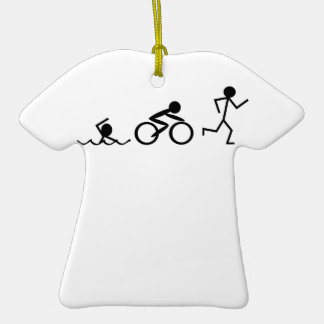 Triathlon Stick Figures Double-Sided T-Shirt Ceramic Christmas Ornament