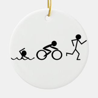 Triathlon Stick Figures Double-Sided Ceramic Round Christmas Ornament