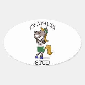 triathlon Stud Oval Sticker