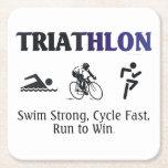 Triathlon SUPERIOR Posavasos Personalizable Cuadrado