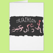 Triathlon Swim Bike Run Abstract in Black Card
