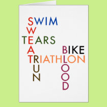 triathlon Swim Bike Run Blood Sweat Tears Card