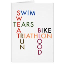 triathlon Swim Bike Run Blood Sweat Tears Card