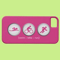 Triathlon Swim-Bike-Run iPhone 5 Case (pink)