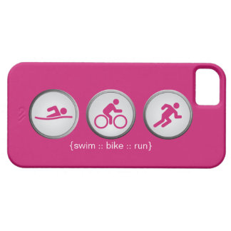 Triathlon Swim-Bike-Run iPhone 5 Case (pink)