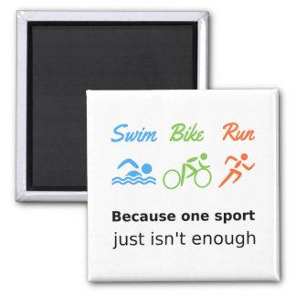 Triathlon swim bike run quote sports magnet