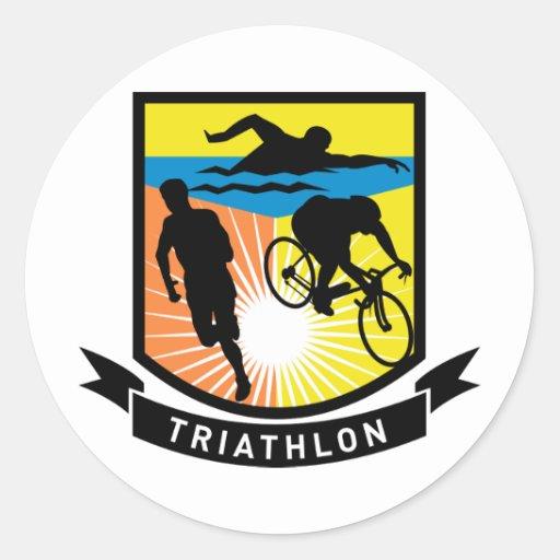triathlon swim bike run race classic round sticker