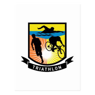 triathlon swim bike run race post cards