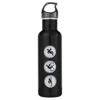 Triathlon SWIM-CYCLE-RUN (negro) Botella De Agua De Acero Inoxidable