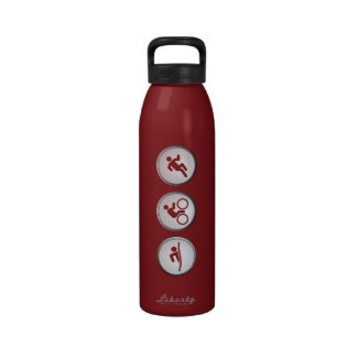 Triathlon SWIM-CYCLE-RUN Water Bottle (cranberry)