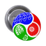 Triathlon TRI Yin Yang 2 Inch Round Button