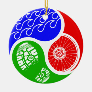 Triathlon TRI Yin Yang Adorno Navideño Redondo De Cerámica