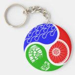 Triathlon TRI Yin Yang Basic Round Button Keychain
