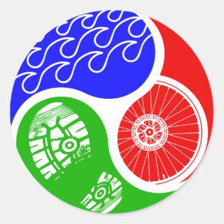 Triathlon TRI Yin Yang Classic Round Sticker