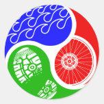 Triathlon TRI Yin Yang Etiquetas Redondas