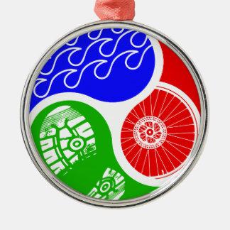 Triathlon TRI Yin Yang Metal Ornament