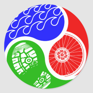 Triathlon TRI Yin Yang Round Stickers