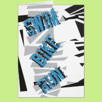 Triathlon Triathlete SWIM BIKE RUN Abstract Card