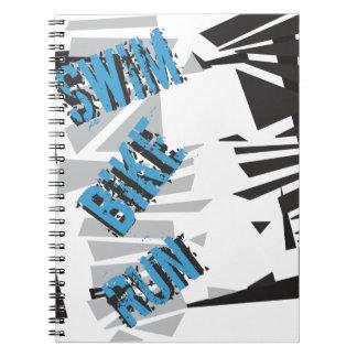 Triathlon Triathlete SWIM BIKE RUN Typography Note Books