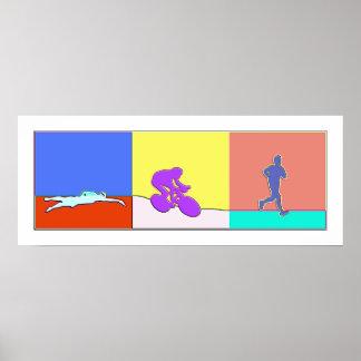 Triathlon Triptych Poster