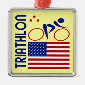 Triathlon United States Metal Ornament