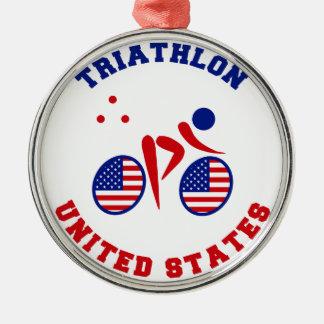 Triathlon United States Christmas Ornaments