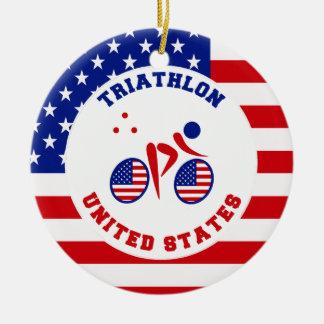 Triathlon United States Christmas Ornament